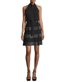 Sleeveless Dress W/Grommet-Embellished Skirt, Black