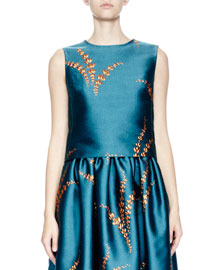 Caitlin Sleeveless Jacquard Cropped Top, Petrol/Gold