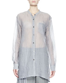 Calybe Long-Sleeve Pinstriped Voile Top, Blue/White