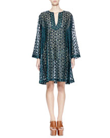 Deira Embroidered Long-Sleeve Tunic Dress, Navy/Green
