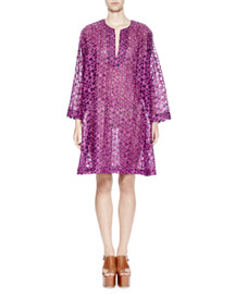 Deira Floral-Embroidered Voile Tunic Dress, Purple