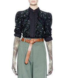 Central Sequined Puff-Sleeve Blouse, Black/Green
