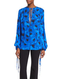 Silk Georgette Tie-Neck Blouse, Black/Blue Poppy Floral