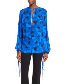 Silk Georgette Tie-Neck Blouse, Black/Blue Poppy Floral