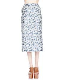 Selah Squiggle-Print Pencil Skirt, Petrol