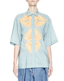Covin Embroidered Half-Sleeve Shirt, Blue/Yellow