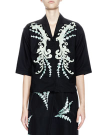 Cala Embroidered Half-Sleeve Button-Down Top, Black/Green