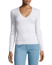 Long-Sleeve V-Neck Top, White