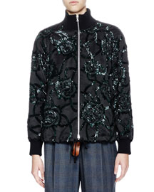 Vance Sequin-Embroidered Bomber Jacket, Black/Green