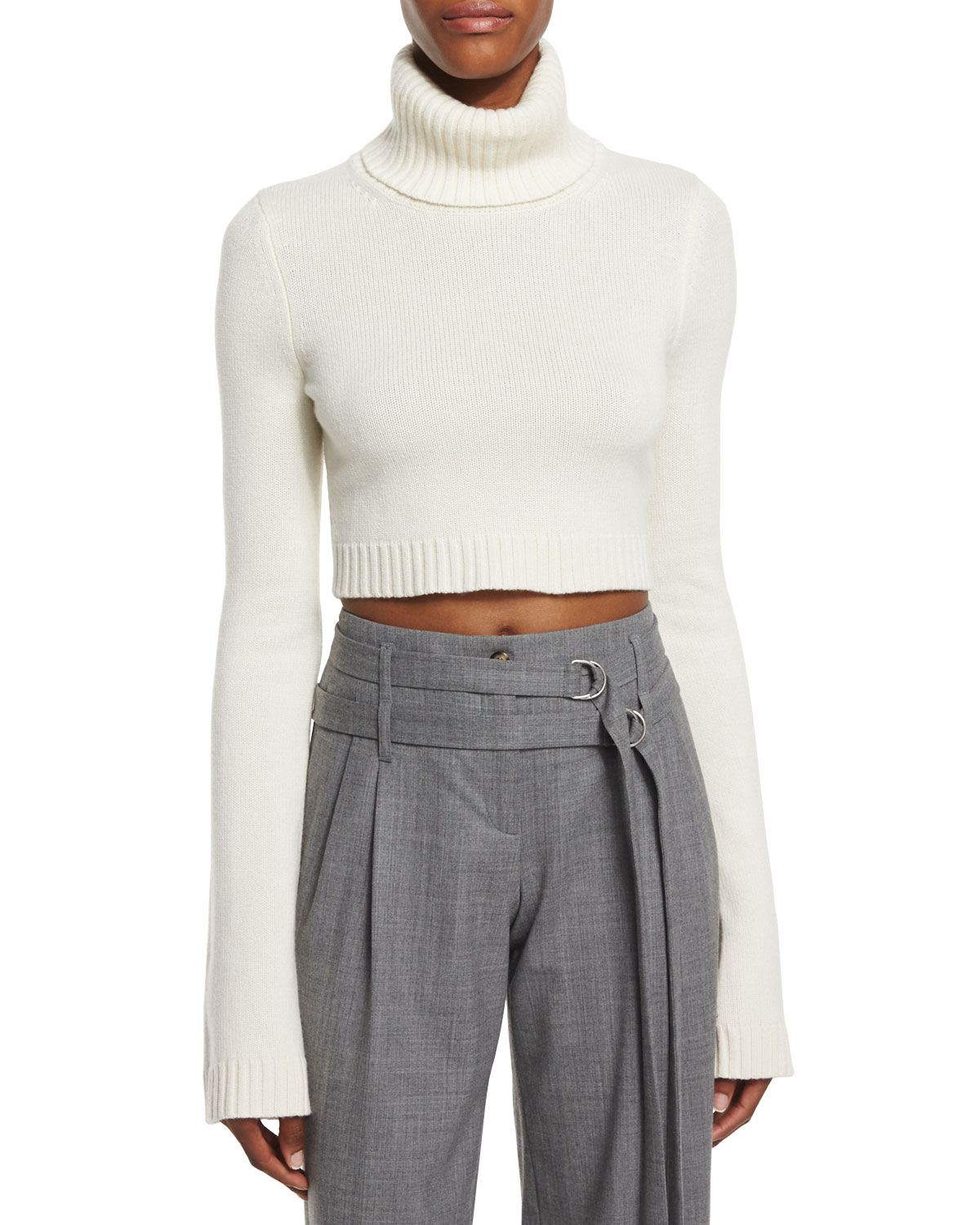 Michael Kors Collection Cropped Cashmere Turtleneck Sweater, White, Women's, Size: MEDIUM