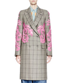 Robert Embroidered Plaid Double-Breasted Coat, Gray