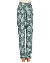 Page Fern-Print Straight-Leg Wool Pants, Green/Black