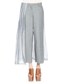 Pedra Plaid Skirt-Combo Pants, Gray