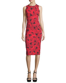 Sleeveless Floral-Print Contour Sheath Dress, Crimson