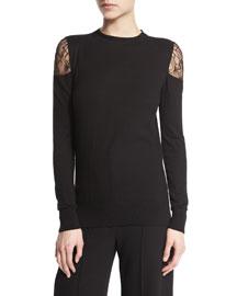 Long-Sleeve Lace Cold-Shoulder Top, Black