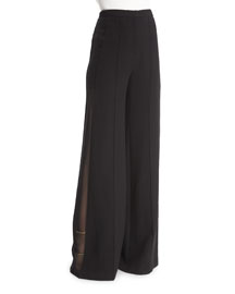 Wide-Leg Pants w/Sheer Side Insets, Black