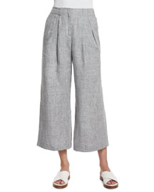 Mid-Rise Pleated-Front Cropped Linen Pants, Gray