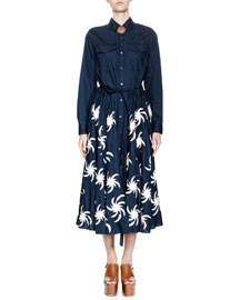 Deanna Long-Sleeve Fireball-Embroidered Midi Shirtdress, Navy