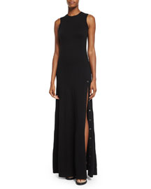 Sleeveless Cashmere Gown w/Side Buttons, Black