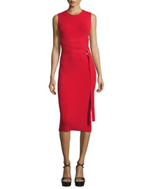 Sleeveless Belted Knit Sheath Dress, Red