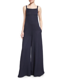 Tie-Back Wide-Leg Jumpsuit, Navy