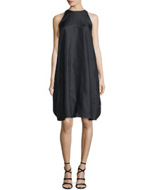 Sleeveless Layered Cape-Back Dress, Black
