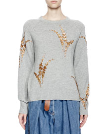 Jackleen Embroidered Cashmere Sweater, Gray/Gold