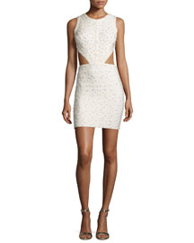 Sleeveless Pearly-Embellished Cutout Dress, Cream
