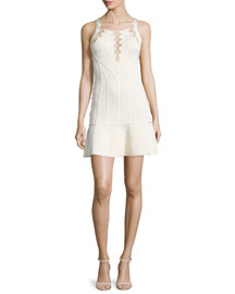 Sleeveless Lace-Up Knit Dress, Nude