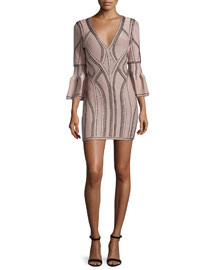 3/4-Sleeve V-Neck Seamed Jacquard Dress, Nude