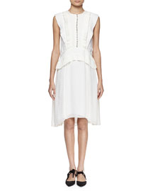 Sleeveless Fil Coupe Dot Dress, White