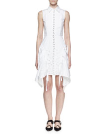 Sleeveless Embroidered Shirtdress, White