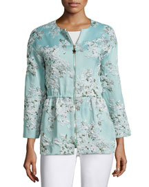 Bracelet-Sleeve Floral-Print Jacket, Green