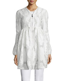Long Floral-Embroidered Collarless Jacket, White
