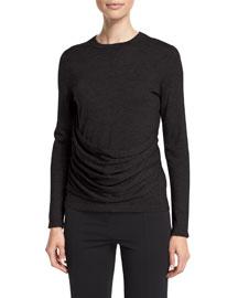 Long-Sleeve Gathered-Side Top, Black
