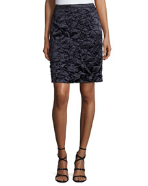 Crushed Satin Pencil Skirt, Navy
