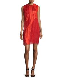 Sleeveless Pleated Silk Organza Dress, Red
