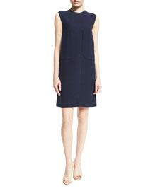 Sleeveless Patch-Pocket Shift Dress, Navy