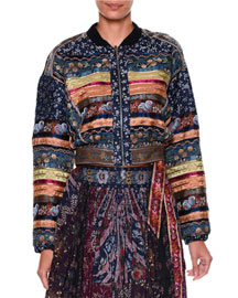 Multi-Print Patchwork Bomber Jacket, Navy/Plum