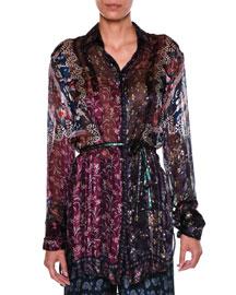 Printed Long-Sleeve Silk Shirt, Navy/Plum