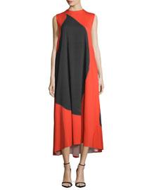 Sleeveless Geometric-Print Midi Dress, Red