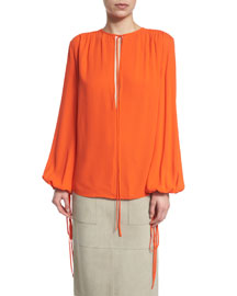 Silk Georgette Tie-Neck Blouse, Orange