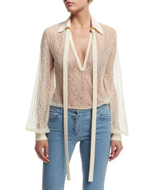 Long-Sleeve Self-Tie Sheer Lace Blouse, White