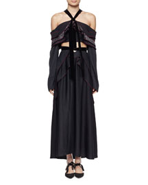 Off-the-Shoulder Ruffled Tie-Neck Dress, Black