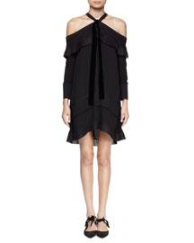 Off-The-Shoulder Halter-Neck Dress, Black
