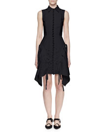 Sleeveless Embroidered Shirtdress, Black