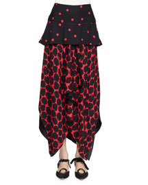 Peplum-Waist Handkerchief-Hem Dot-Print Skirt, Black/Crimson