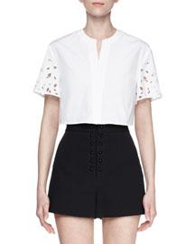 Laser-Cut Short-Sleeve Cotton Top, White