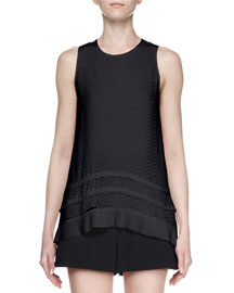 Sleeveless Silk Fil Coupe Top, Black