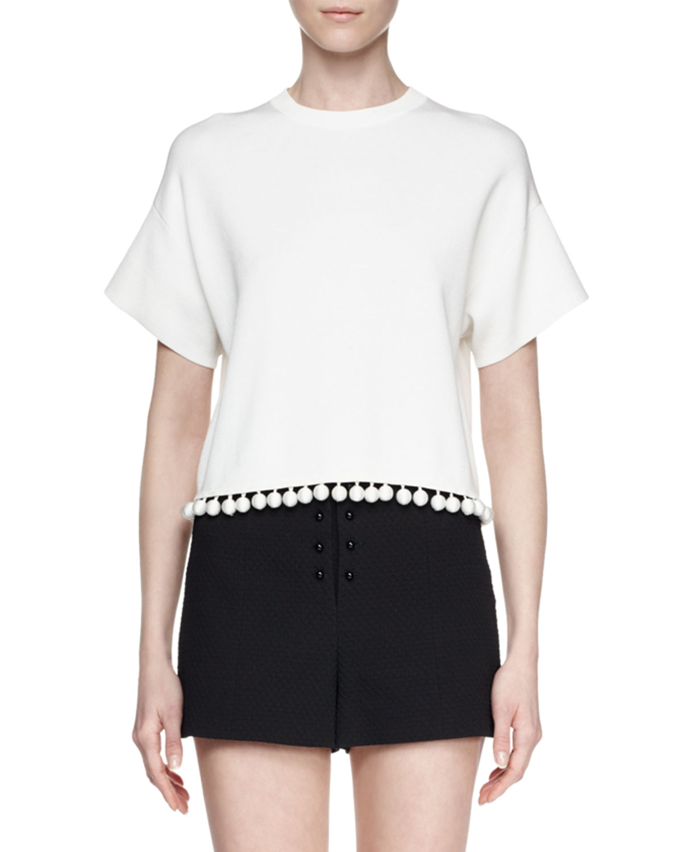 Proenza Schouler Short-Sleeve Cutaway-Back Crop Top, Off White, Size: XXX-SMALL